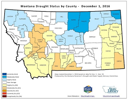 Montana's Current Drought Situation map provided by NRIS