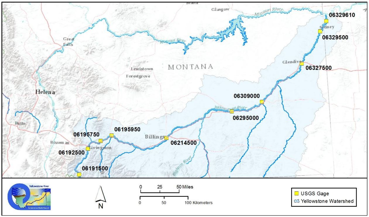 Maps Selected From Technical Reports - Yellowstone river on us map
