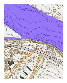 Image showing bathymetry, contour lines, roads, and structures